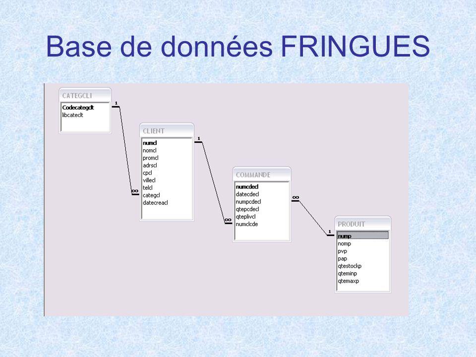 Base de données FRINGUES