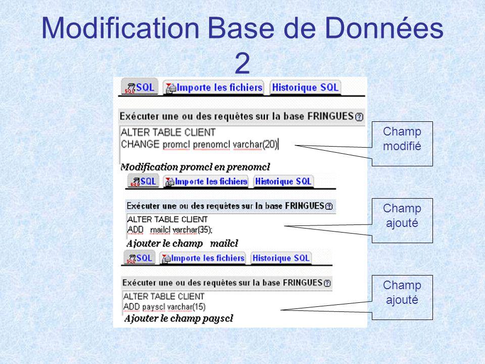 Modification Base de Données 2