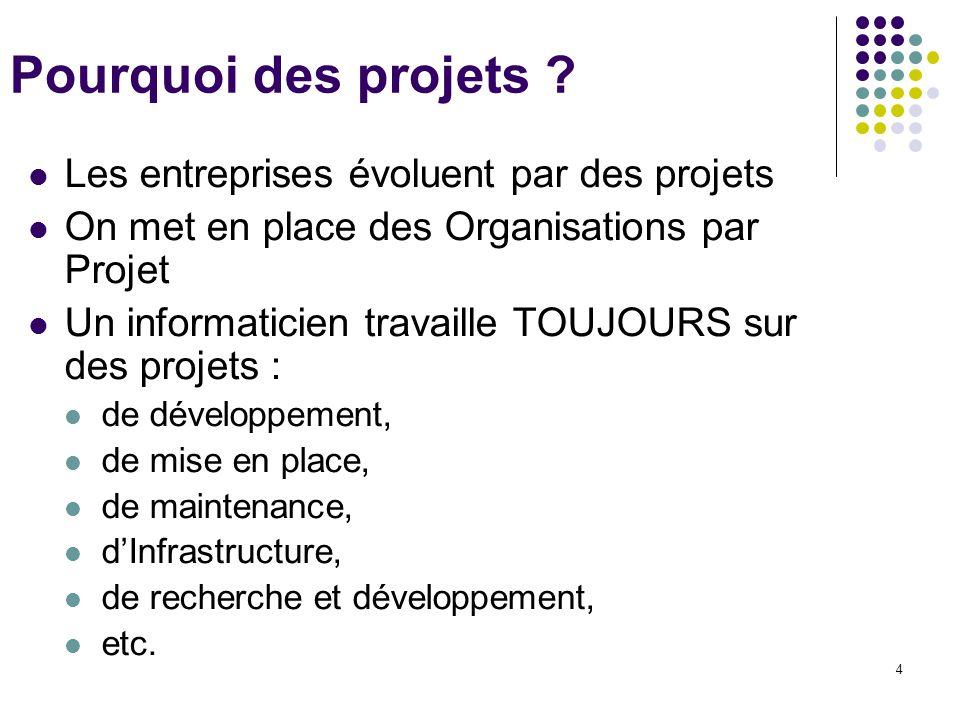 Pourquoi des projets Les entreprises évoluent par des projets