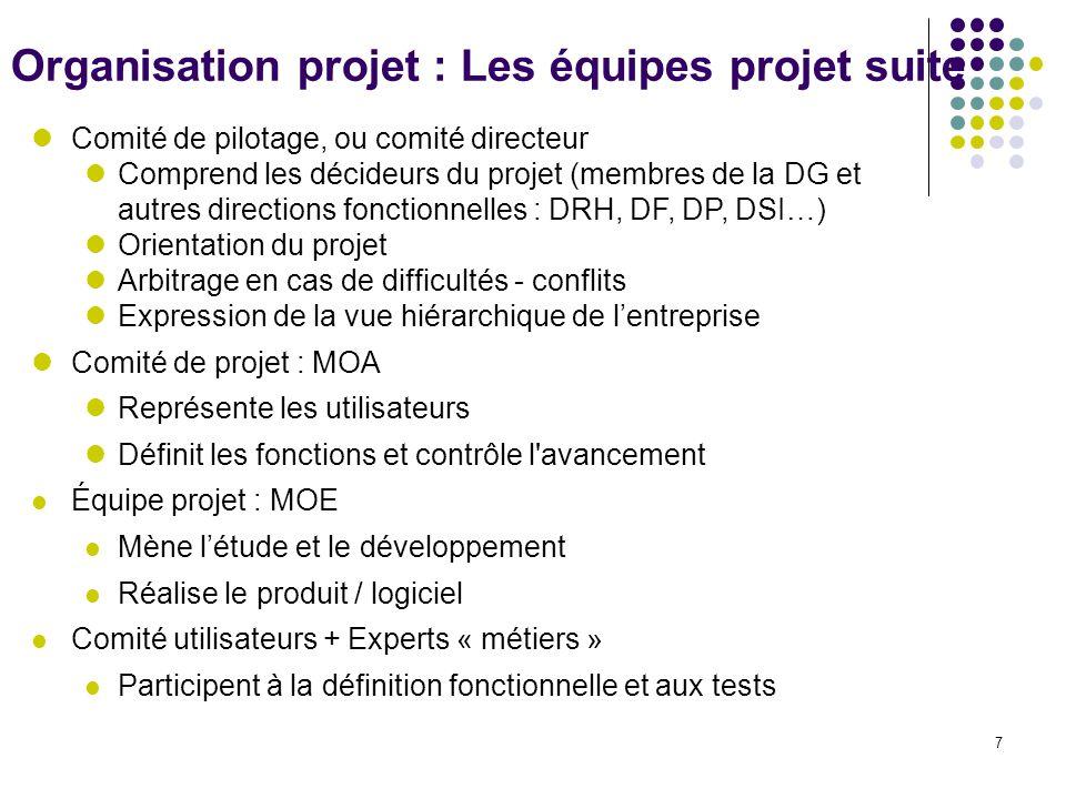 Organisation projet : Les équipes projet suite