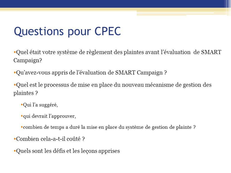 Questions pour CPEC Quel était votre système de règlement des plaintes avant l'évaluation de SMART Campaign