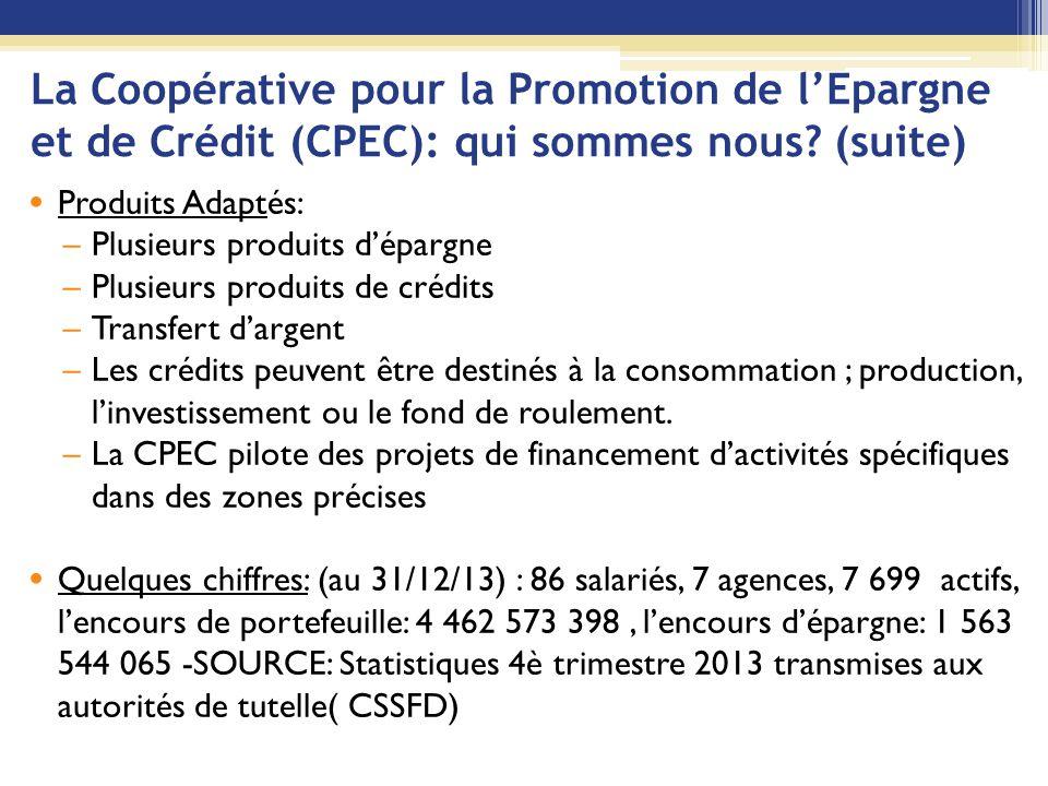 La Coopérative pour la Promotion de l'Epargne et de Crédit (CPEC): qui sommes nous (suite)