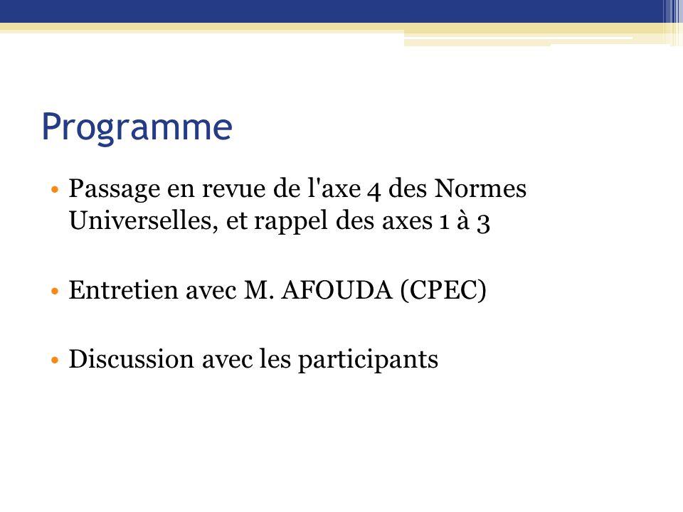 Programme Passage en revue de l axe 4 des Normes Universelles, et rappel des axes 1 à 3. Entretien avec M. AFOUDA (CPEC)