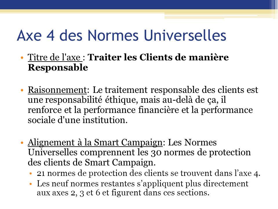 Axe 4 des Normes Universelles