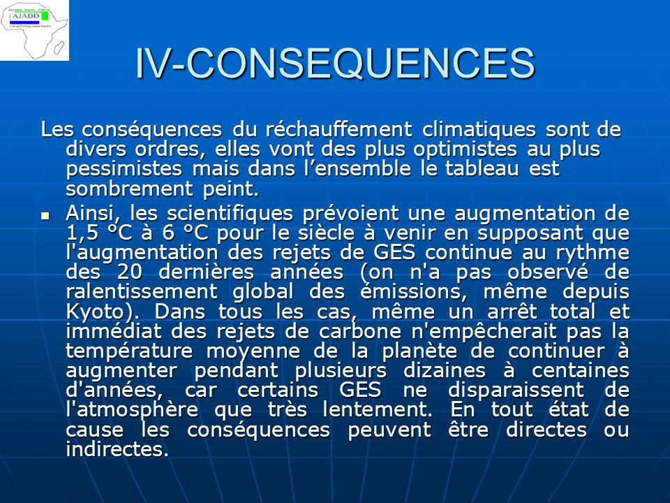 IV-CONSEQUENCES