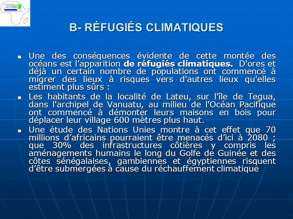 B- RÉFUGIÉS CLIMATIQUES