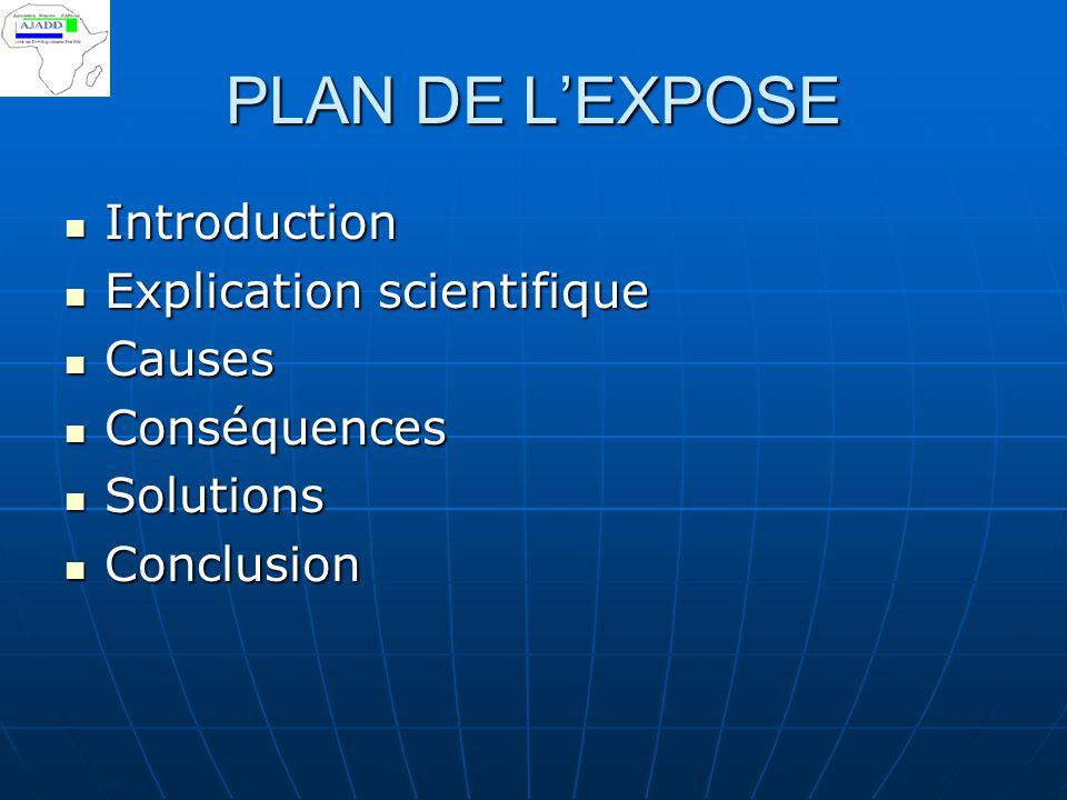 PLAN DE L'EXPOSE Introduction Explication scientifique Causes