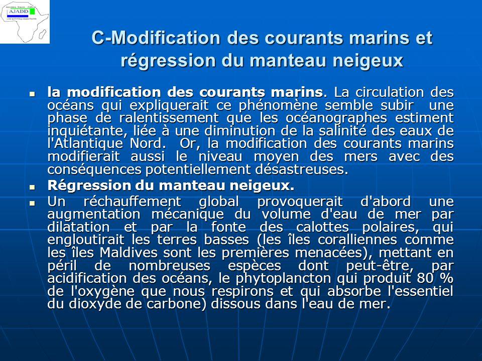 C-Modification des courants marins et régression du manteau neigeux