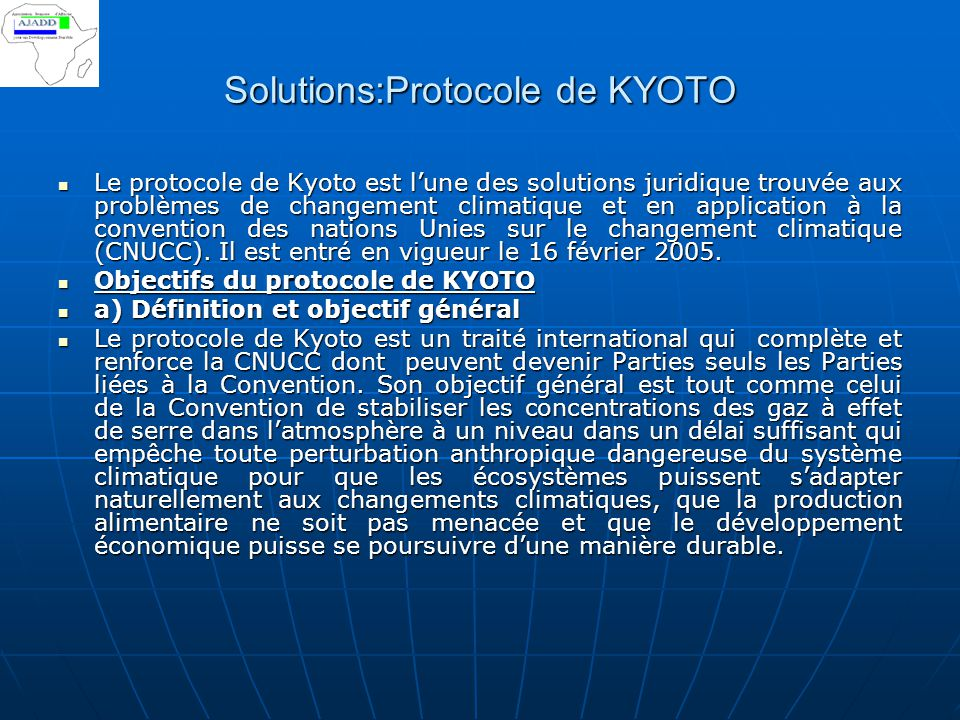 Solutions:Protocole de KYOTO