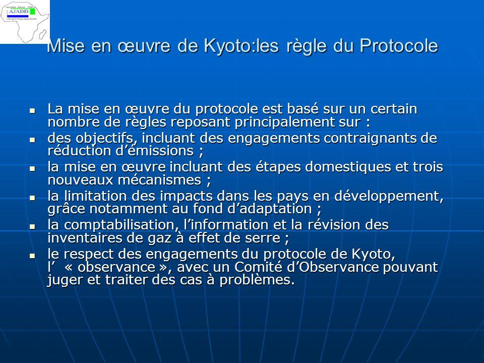 Mise en œuvre de Kyoto:les règle du Protocole