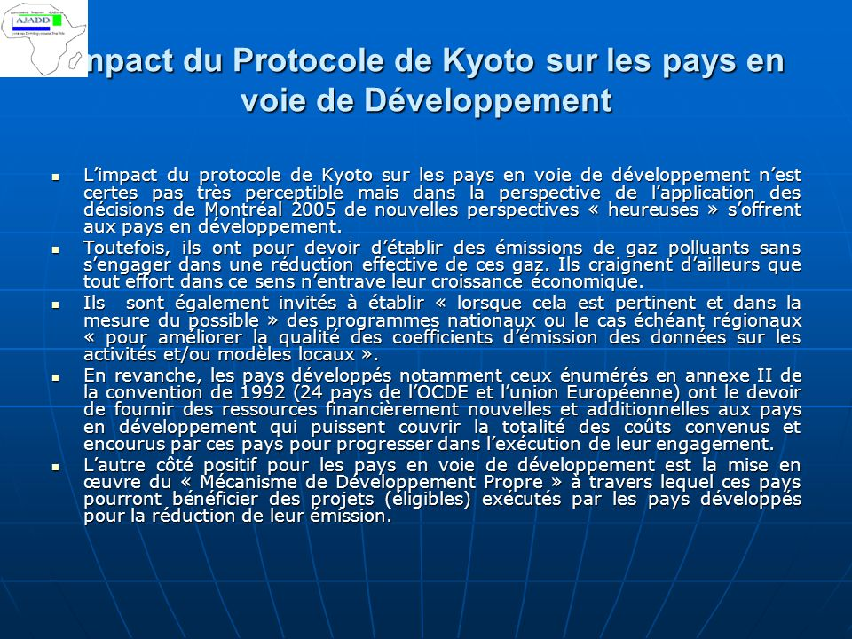 impact du Protocole de Kyoto sur les pays en voie de Développement
