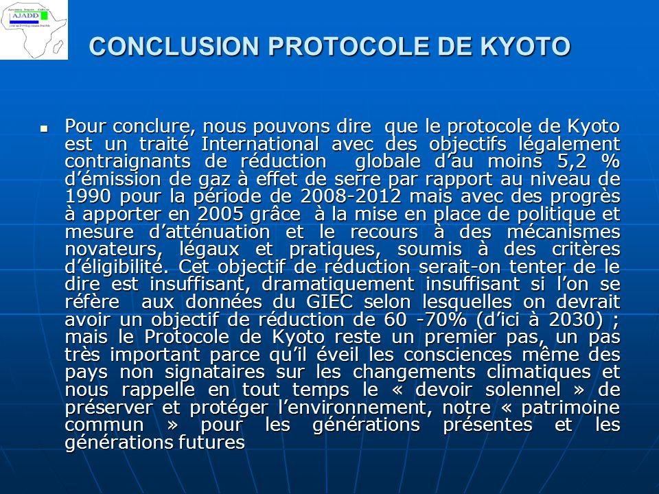 CONCLUSION PROTOCOLE DE KYOTO