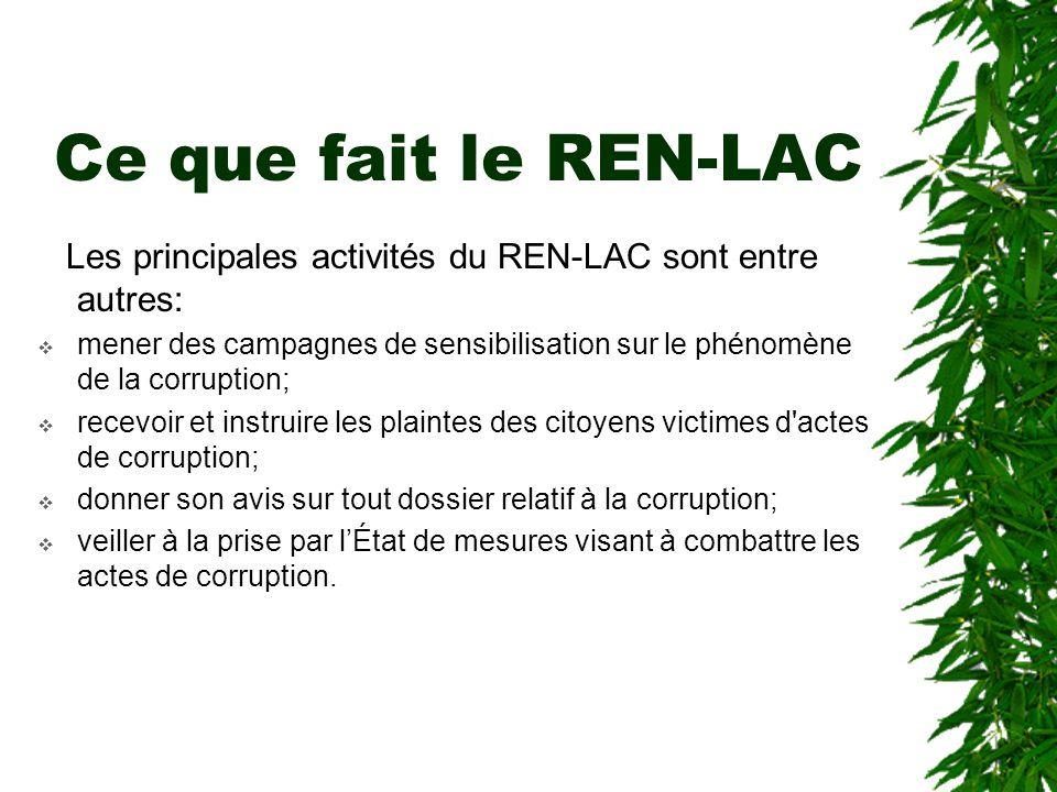 Ce que fait le REN-LAC Les principales activités du REN-LAC sont entre autres: