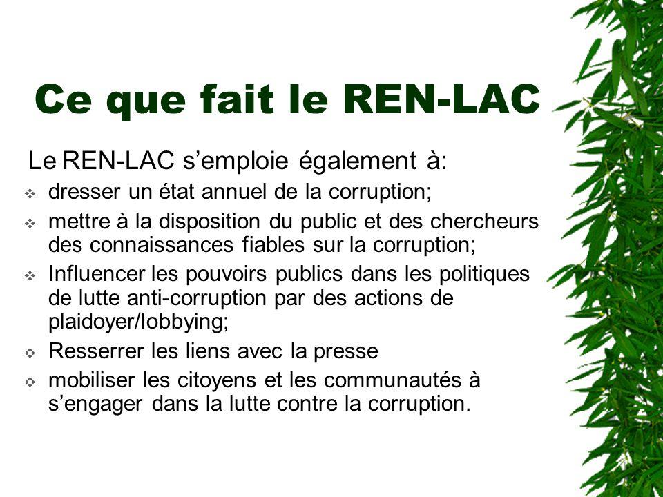 Ce que fait le REN-LAC dresser un état annuel de la corruption;