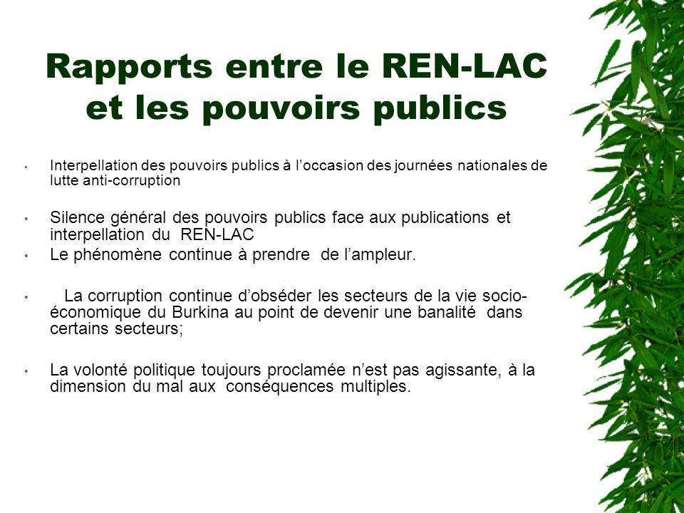 Rapports entre le REN-LAC et les pouvoirs publics