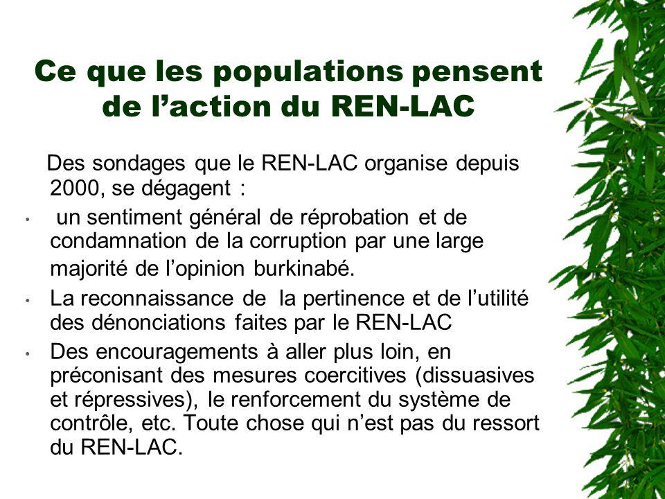 Ce que les populations pensent de l'action du REN-LAC