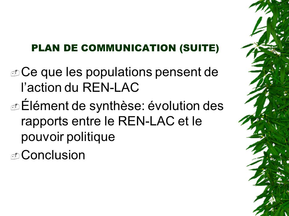 PLAN DE COMMUNICATION (SUITE)