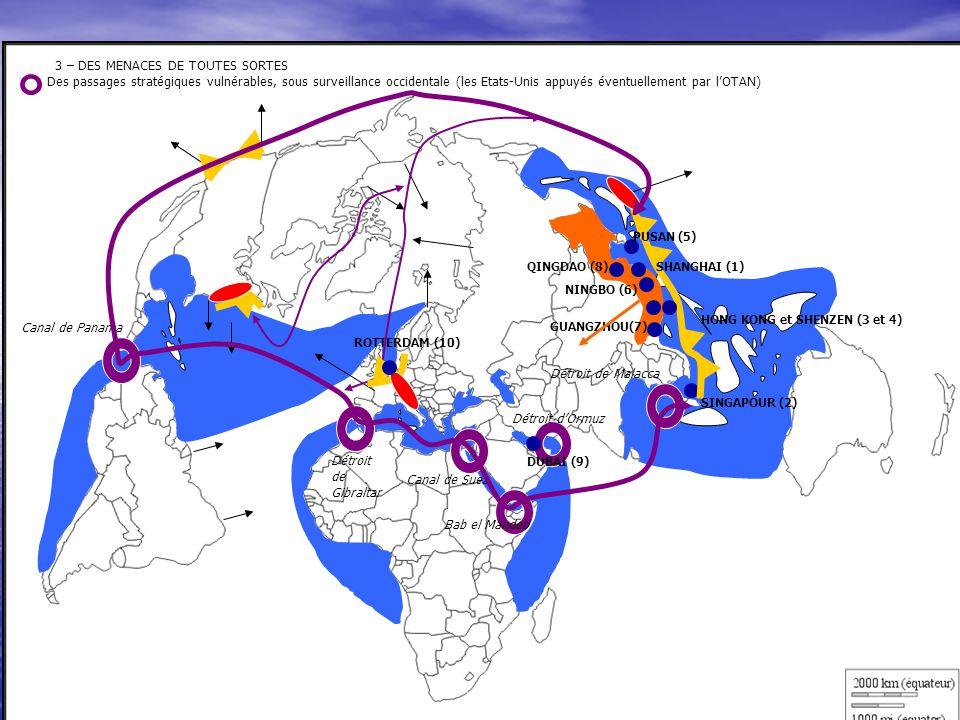 3 – DES MENACES DE TOUTES SORTES Des passages stratégiques vulnérables, sous surveillance occidentale (les Etats-Unis appuyés éventuellement par l'OTAN)