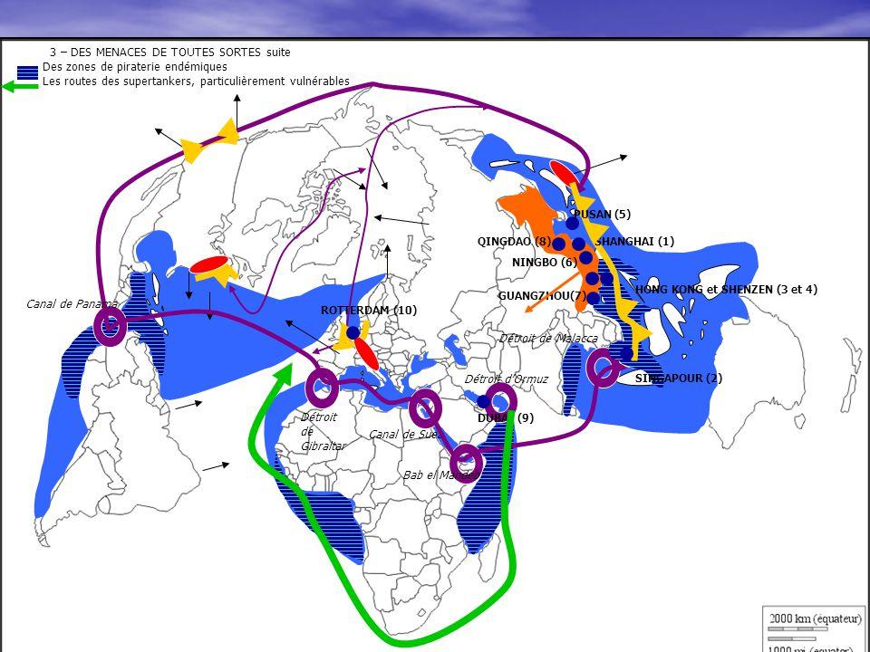 3 – DES MENACES DE TOUTES SORTES suite Des zones de piraterie endémiques Les routes des supertankers, particulièrement vulnérables
