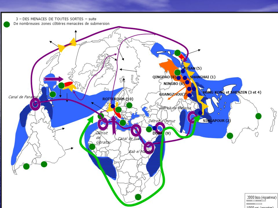 3 – DES MENACES DE TOUTES SORTES – suite De nombreuses zones côtières menacées de submersion