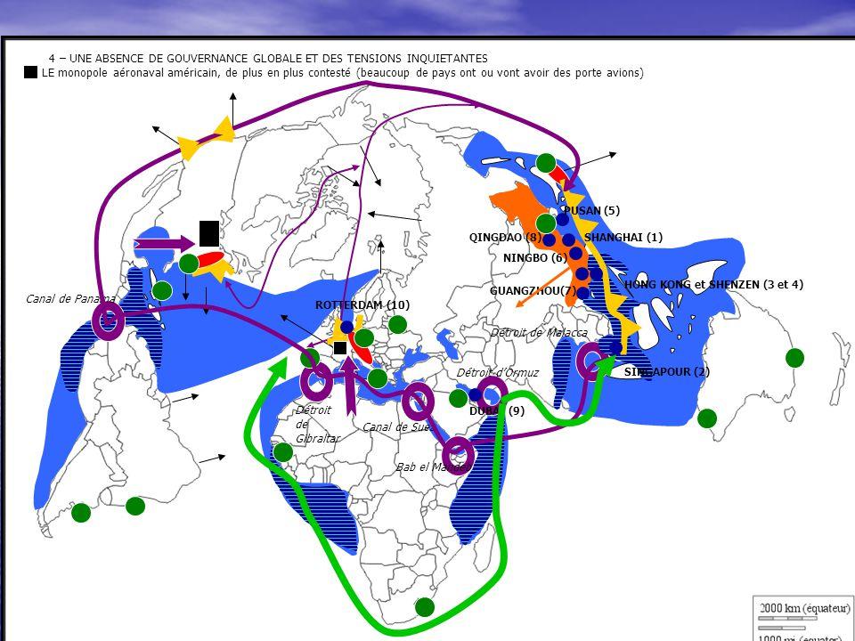 4 – UNE ABSENCE DE GOUVERNANCE GLOBALE ET DES TENSIONS INQUIETANTES LE monopole aéronaval américain, de plus en plus contesté (beaucoup de pays ont ou vont avoir des porte avions)