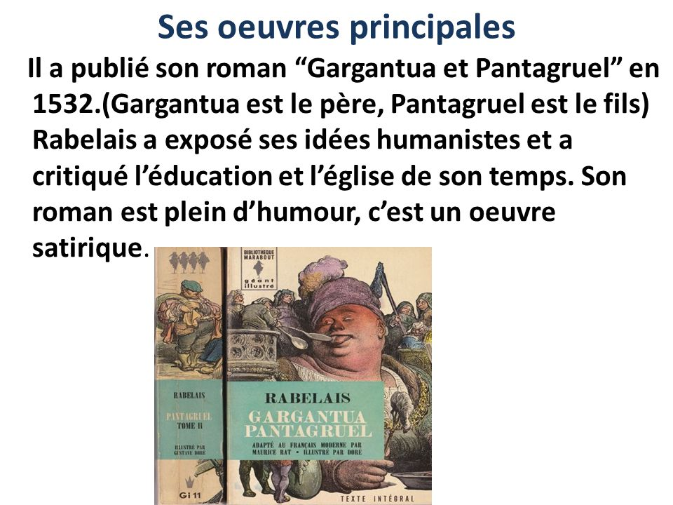 Ses oeuvres principales