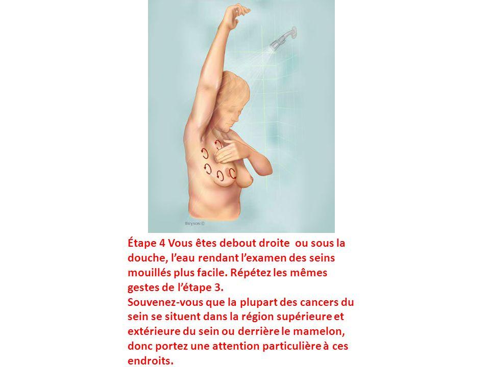Étape 4 Vous êtes debout droite ou sous la douche, l'eau rendant l'examen des seins mouillés plus facile. Répétez les mêmes gestes de l'étape 3.