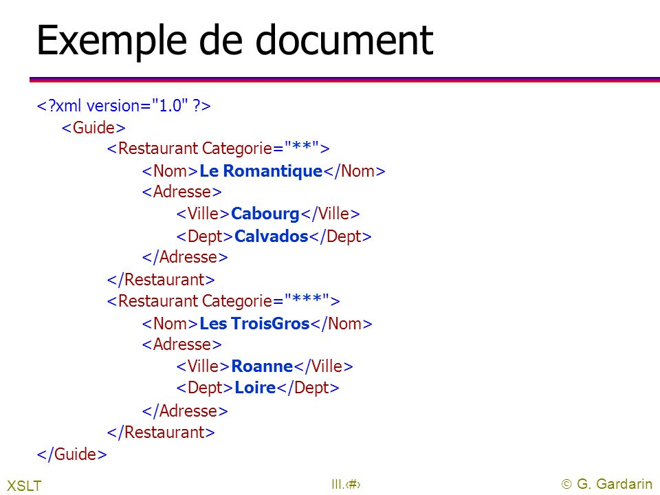 Exemple de document < xml version= 1.0 > <Guide>