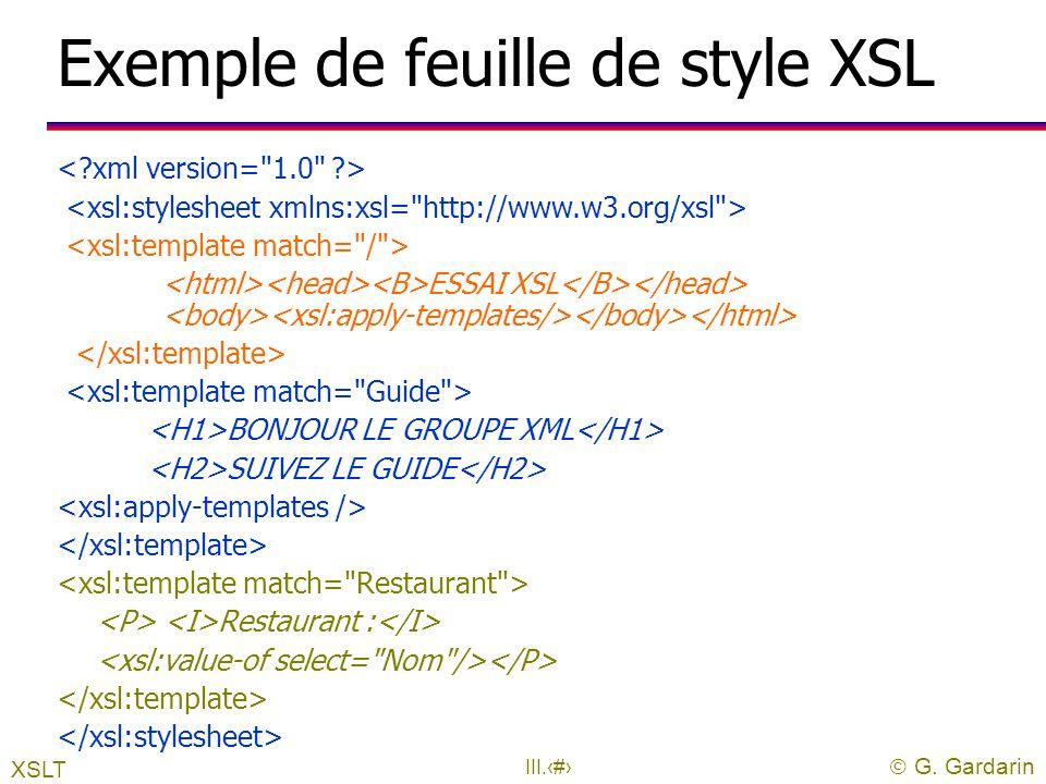 Exemple de feuille de style XSL