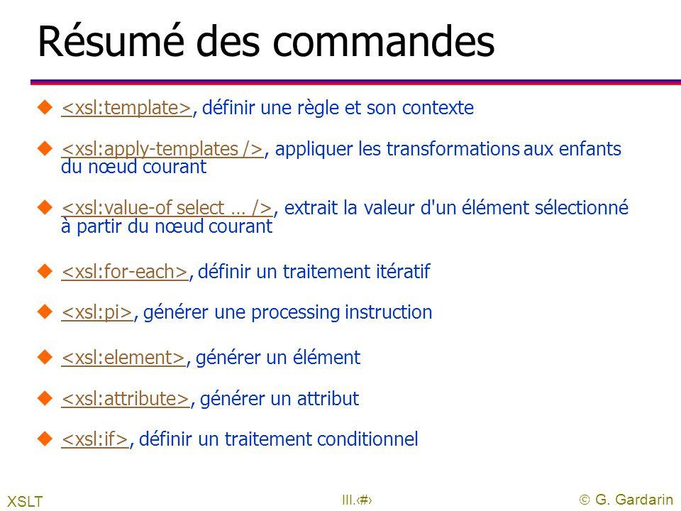 Résumé des commandes <xsl:template>, définir une règle et son contexte
