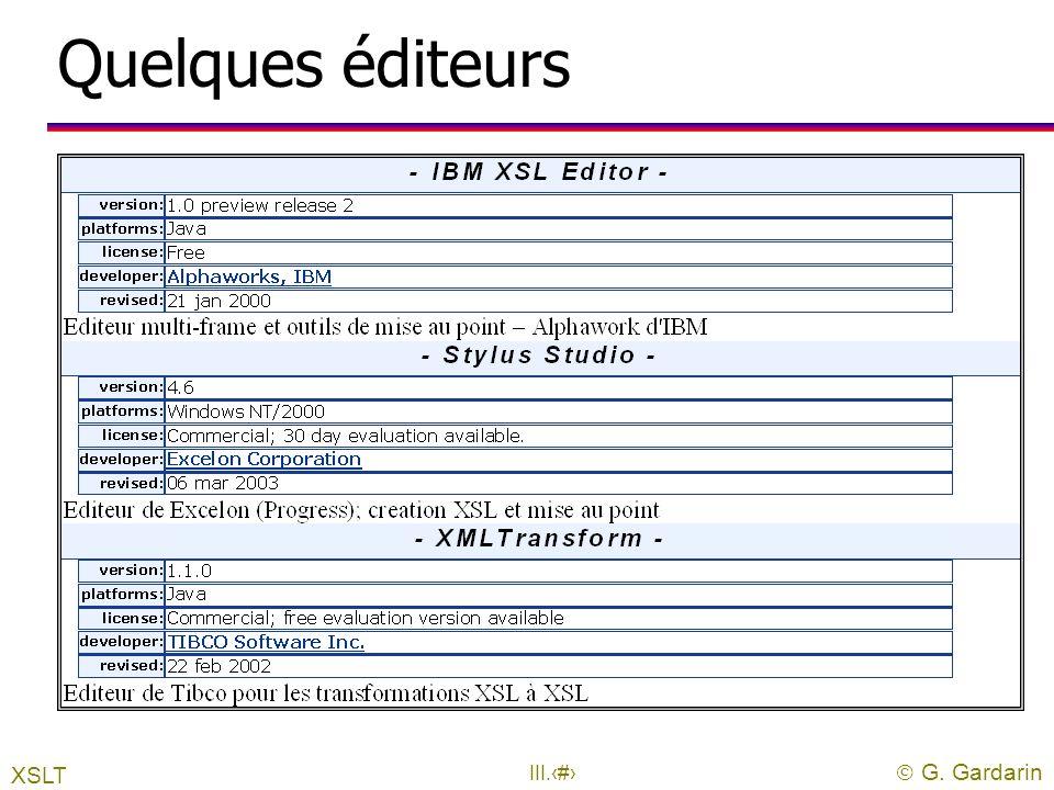 Quelques éditeurs XSLT