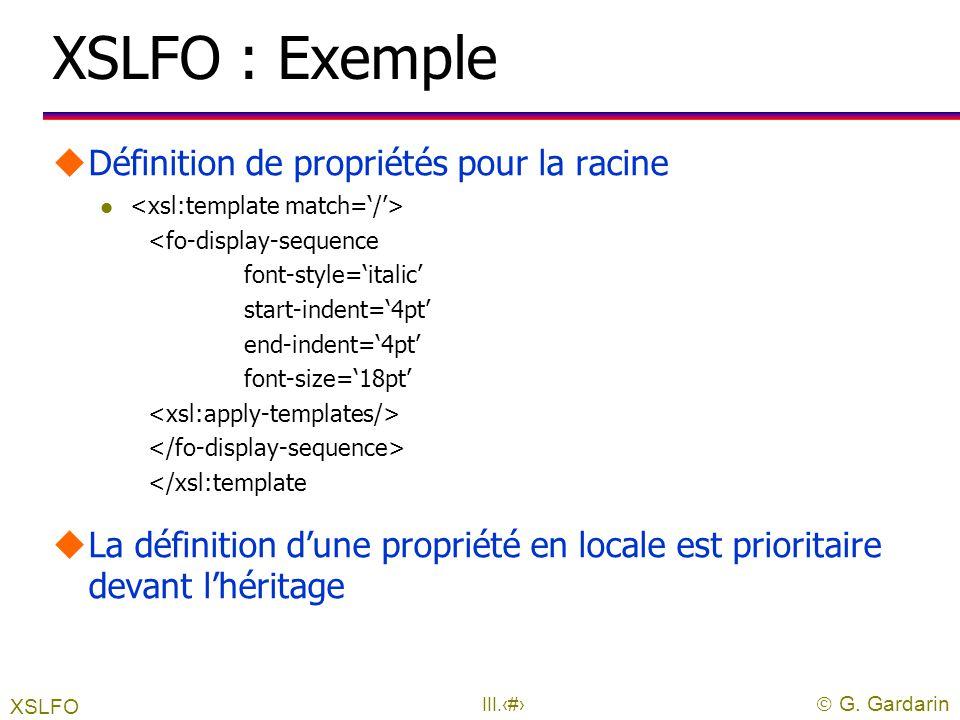 XSLFO : Exemple Définition de propriétés pour la racine