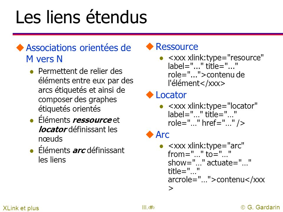 Les liens étendus Associations orientées de M vers N Ressource Locator