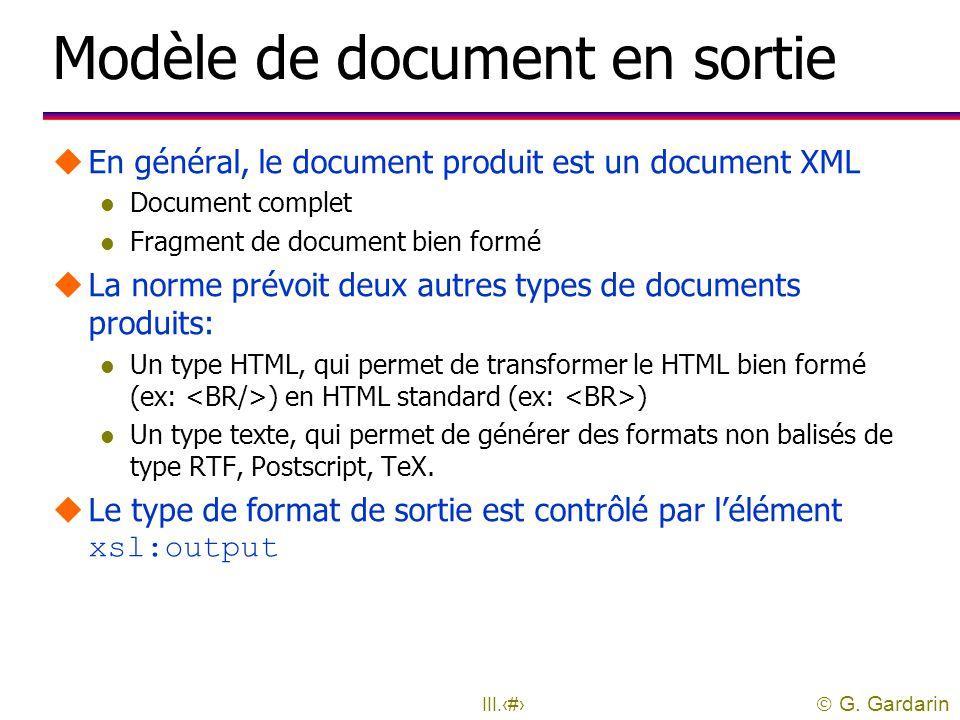 Modèle de document en sortie