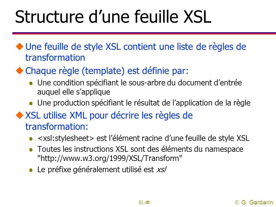 Structure d'une feuille XSL