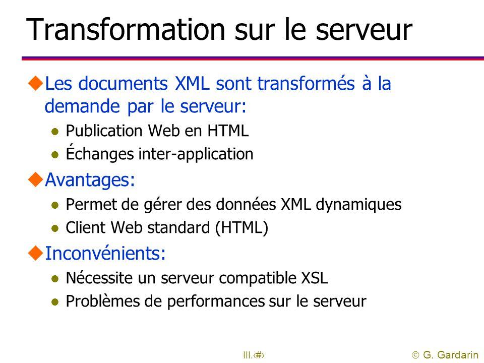 Transformation sur le serveur