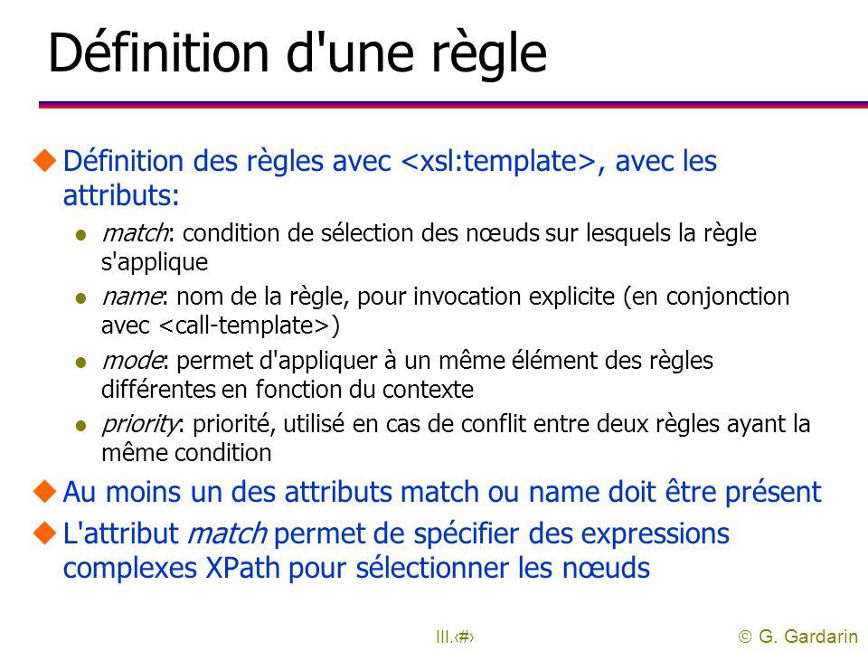 Définition d une règle Définition des règles avec <xsl:template>, avec les attributs: