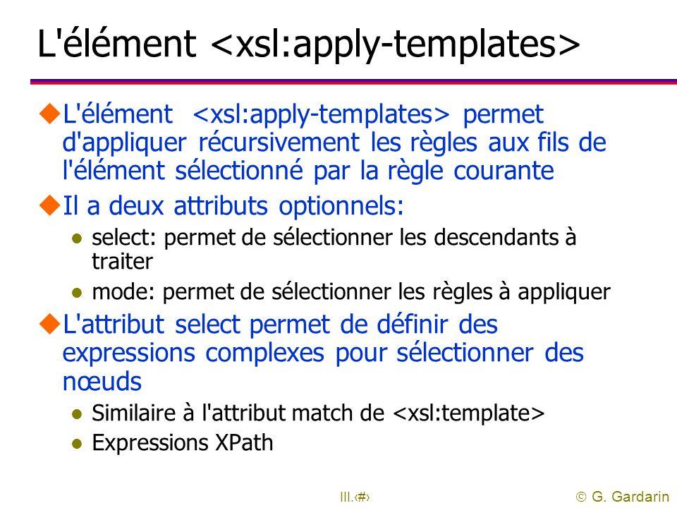 L élément <xsl:apply-templates>