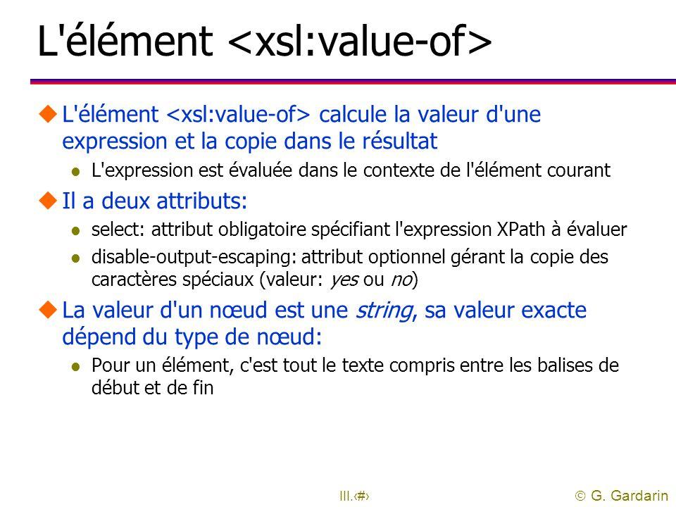 L élément <xsl:value-of>