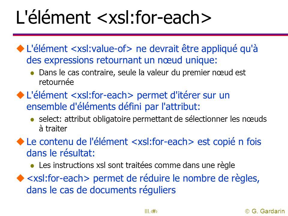 L élément <xsl:for-each>