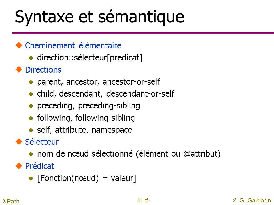 Syntaxe et sémantique Cheminement élémentaire