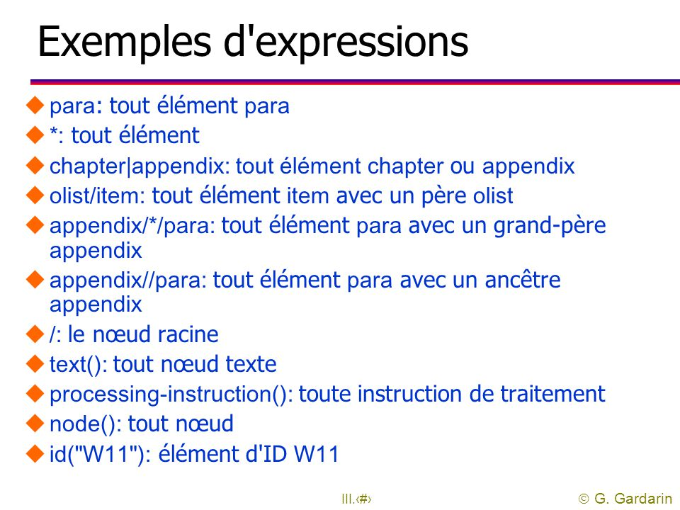 Exemples d expressions