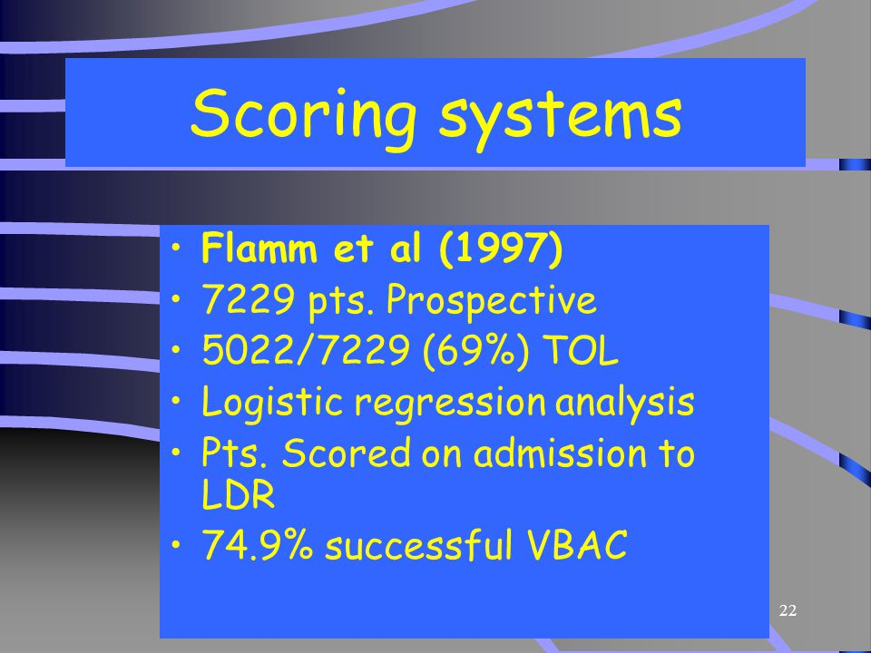Scoring systems Flamm et al (1997) 7229 pts. Prospective