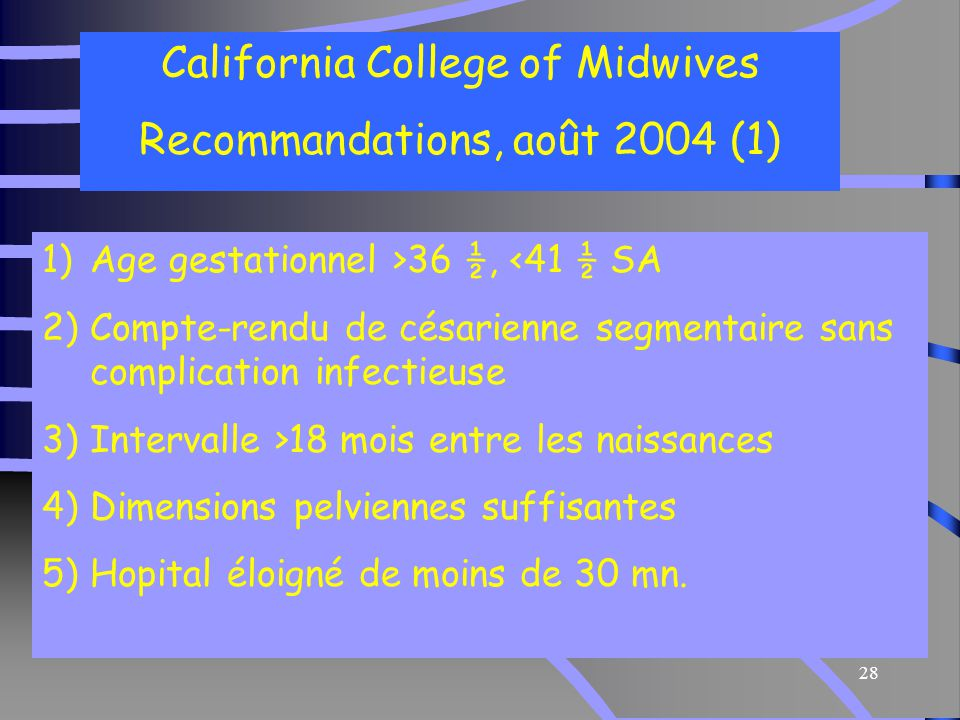 California College of Midwives Recommandations, août 2004 (1)