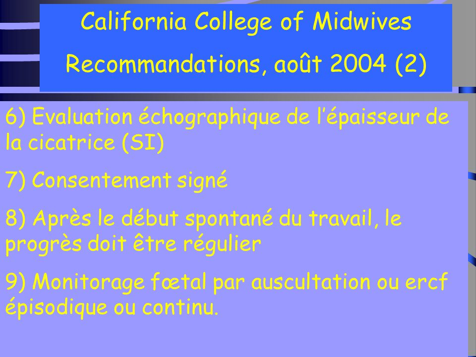 California College of Midwives Recommandations, août 2004 (2)