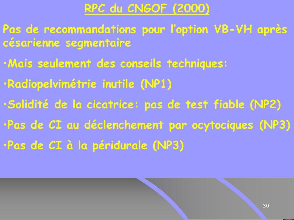 RPC du CNGOF (2000) Pas de recommandations pour l'option VB-VH après césarienne segmentaire. Mais seulement des conseils techniques:
