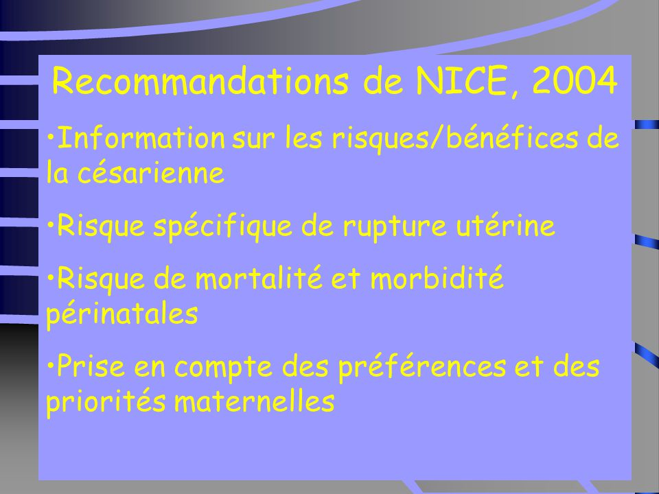 Recommandations de NICE, 2004