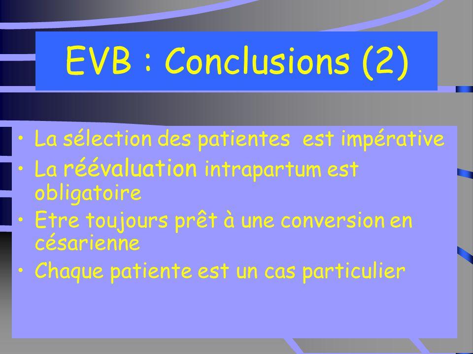 EVB : Conclusions (2) La sélection des patientes est impérative