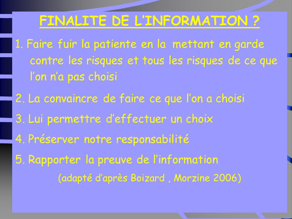 FINALITE DE L'INFORMATION