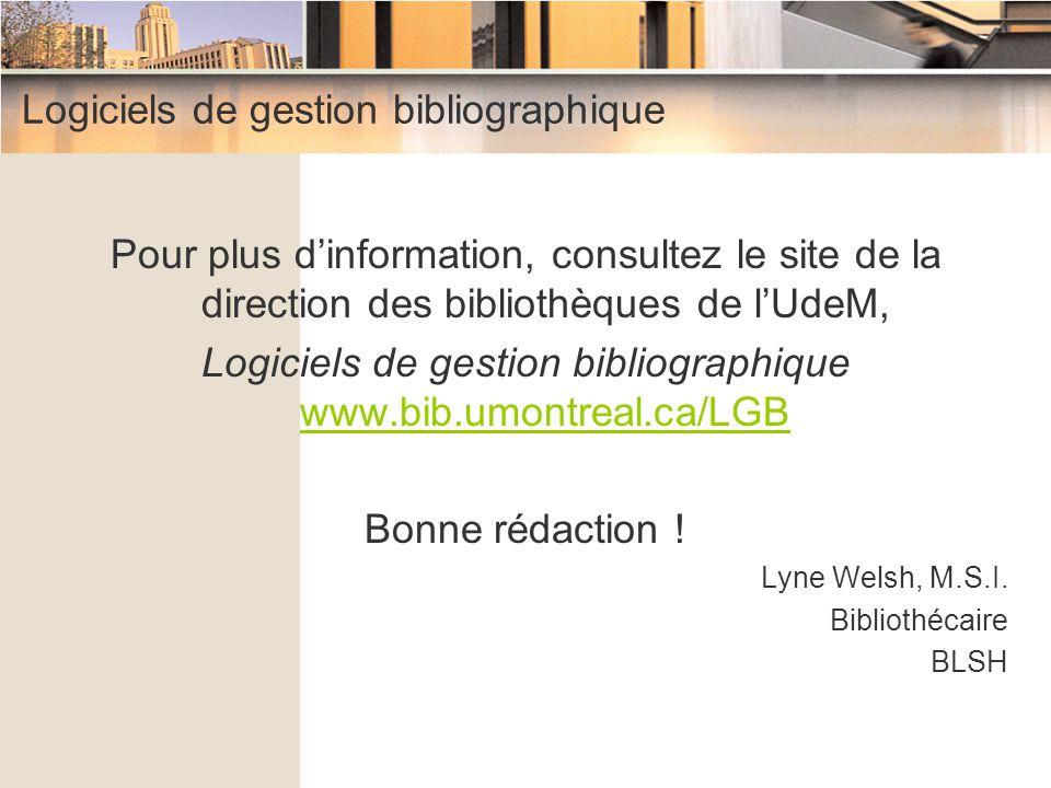 Logiciels de gestion bibliographique